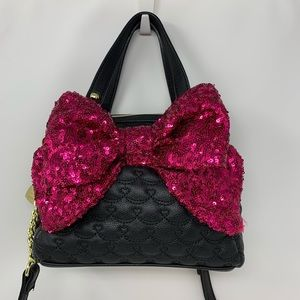 Betsey Johnson Pink Bow Satchel Crossbody Bag